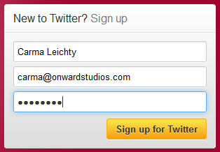 sign up for twitter account