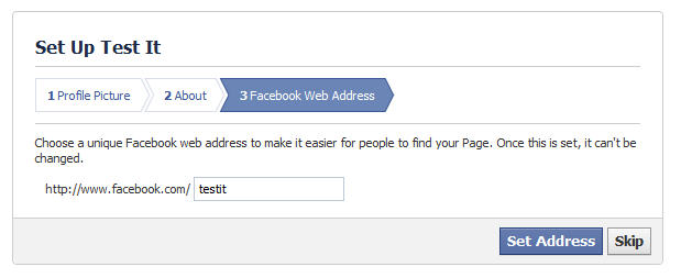 Select facebook address