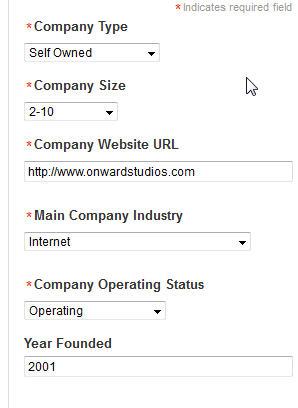 Enter Company Info