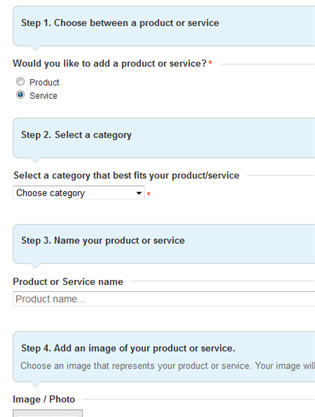 Enter product or service information on LinkedIn