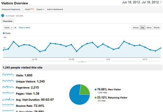 View Google Analytics Visitor Overview