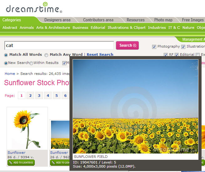 Dreamstime website