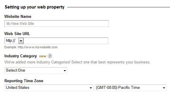 website info for google analytics