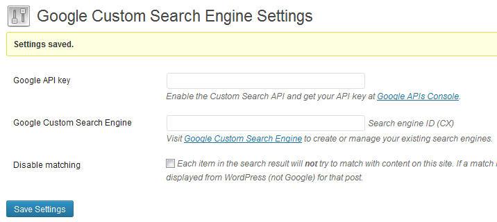 Settings for Google CSE plugin