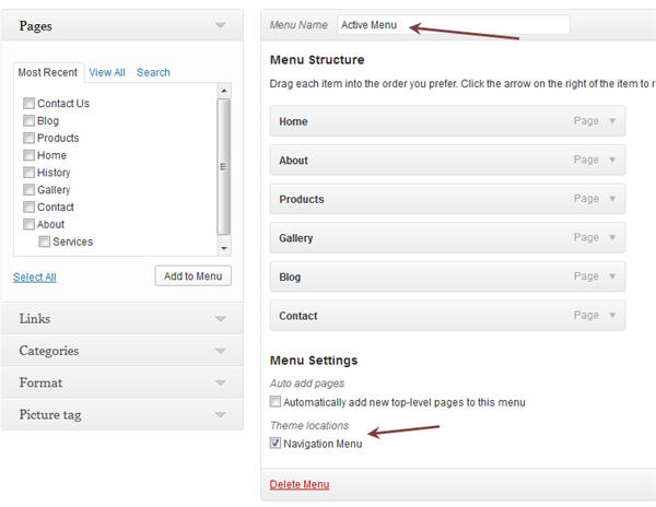 edit menu WordPress 3.6