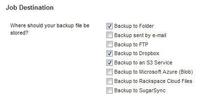 BackWPup options for destination of backup