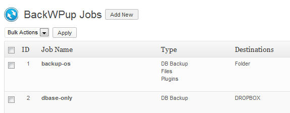 Set up multipel backup jobs with BackWPup plugin