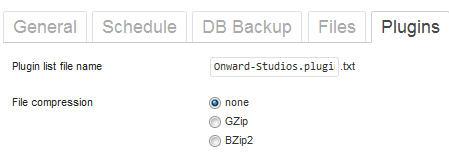 backwpup options for saving plugins list