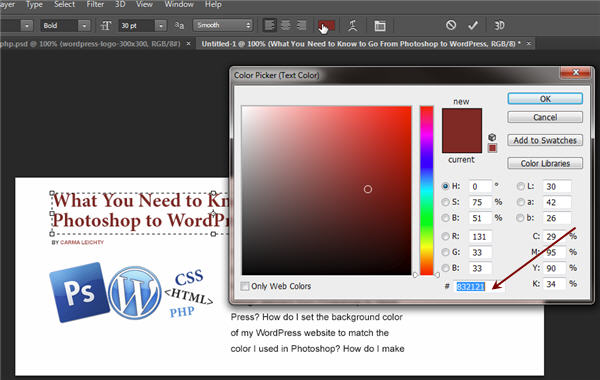 Take Photoshop Color into WordPress