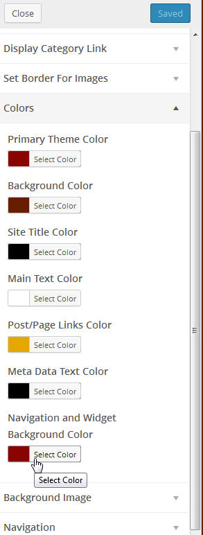 set background color of WordPress menu bar