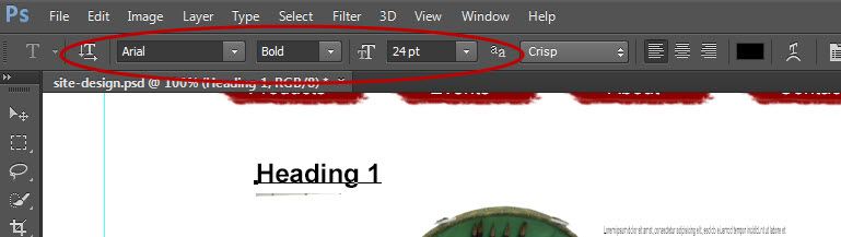 photoshop headings in WordPress