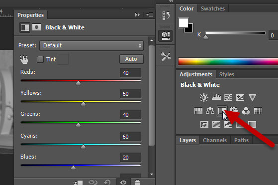 black and white adjustment layer for duotone image
