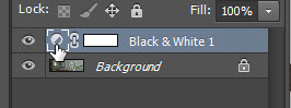 change black and white adjustment layer settings